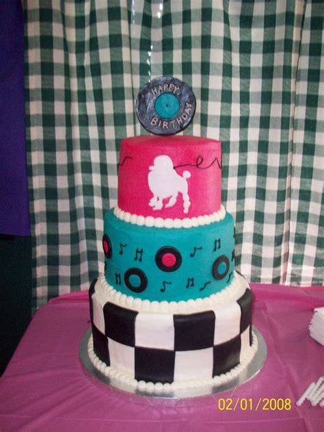 Eliana's Sock Hop Cake   Iced in buttercream with fondant