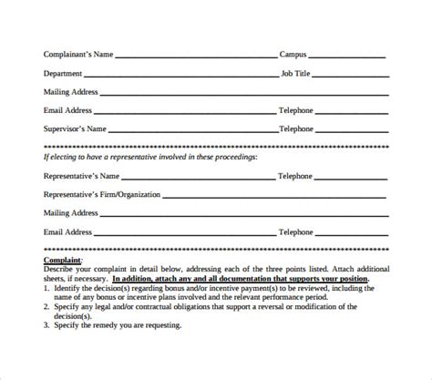 employee complaint form template sle employee complaint forms 8 free