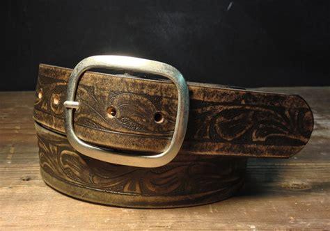 western vintage aged leather belt embossed leather