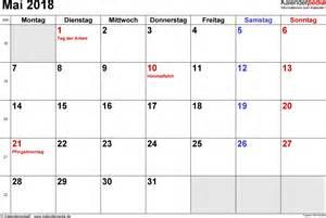 Kalender 2018 Doc Kalender Mai 2018 Als Word Vorlagen