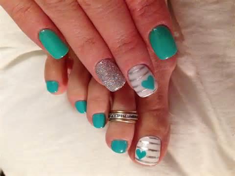 teal color nails teal nail nail designs