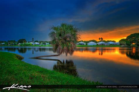 lake katherine tree lighting palm gardens sunset royal stock photo