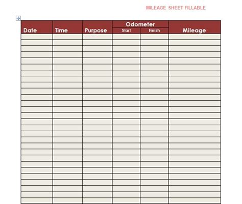 mileage log templates word excel template section