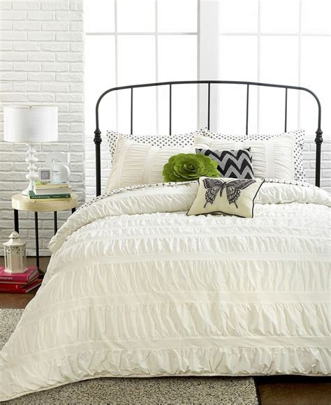 macys bed comforter sets ruched stripes ivory 3 piece comforter and duvet cover
