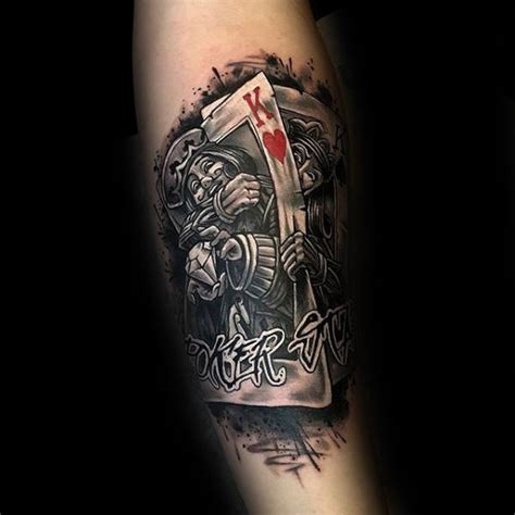 joker king tattoo 90 playing card tattoos for men lucky design ideas