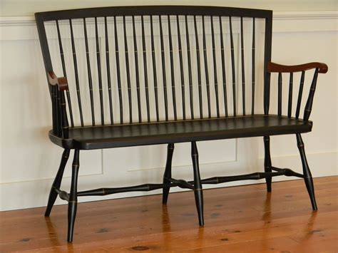 black entry bench custom made windsor bench with cherry arms by t kelly