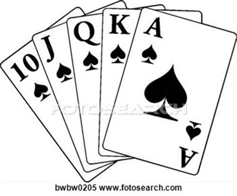 royal flush black white clipart