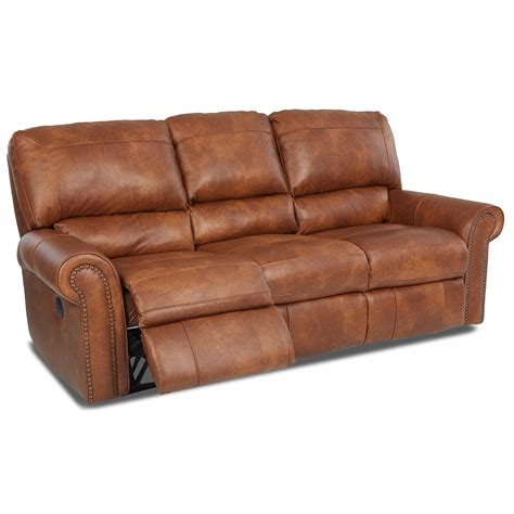 Klaussner Reclining Sofa Klaussner Power Reclining Sofa With Rolled Arms And Nailheads Sheely S Furniture