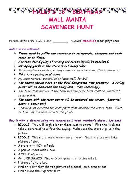 mall scavenger hunt invitation template mall scavenger hunt invitations futureclim info