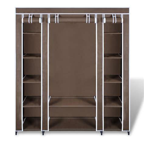 brown portable closet fabric cabinet storage organizer