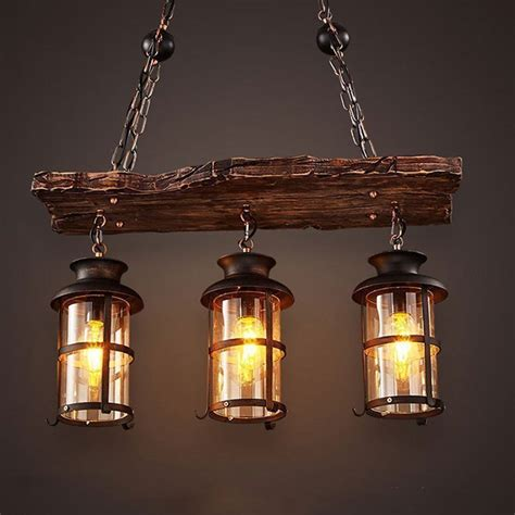 country style lighting new original design retro industrial pendant l 2 3 heads old boat wood american country style