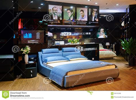 bed mattress shop trendy bedroom editorial photo image