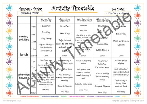 activity timetable template activity planning pack mindingkids