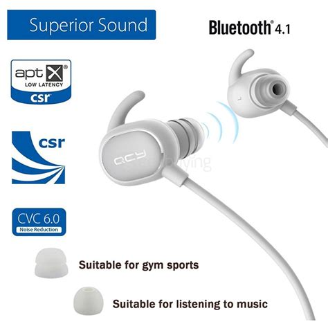 Earphone Bluetooth Qcy Qy19 With Mic Black qcy qy19 bluetooth 4 1 sport earphones with mic black