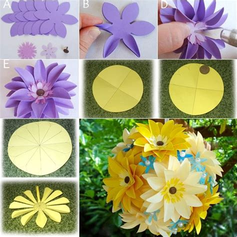 How To Make Flower Paper Balls - 383 best paper crafts flowers leaves feathers images