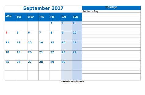 Labor Day Calendar September 2017 Calendar Labor Day Printable Template With