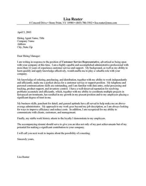 customer service cover letters exles customer service cover letter sle resume cover letter