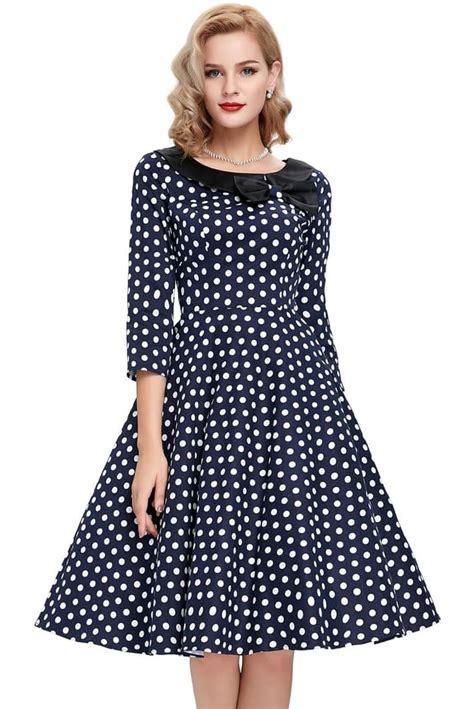 Dress Polka White Blue ellie navy blue and white polka dress 1950sglam
