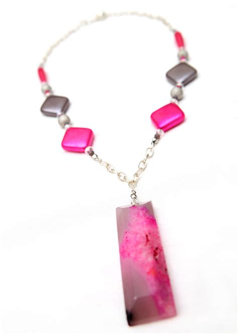 pink necklace pink and grey agate matinee pendant necklace