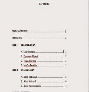 format daftar isi contoh penulisan format daftar isi yang benar webmuara