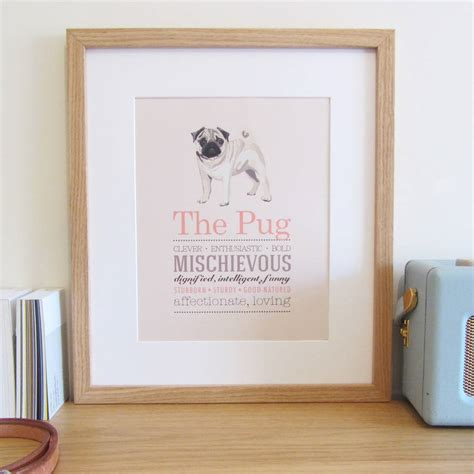pug original breed pug breed print by sirocco design notonthehighstreet