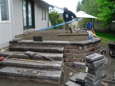 How To Build A Raised Paver Patio The Price Of Raising A Paver Patio Vs Building A Composite Deck Turned Out To Be The Least