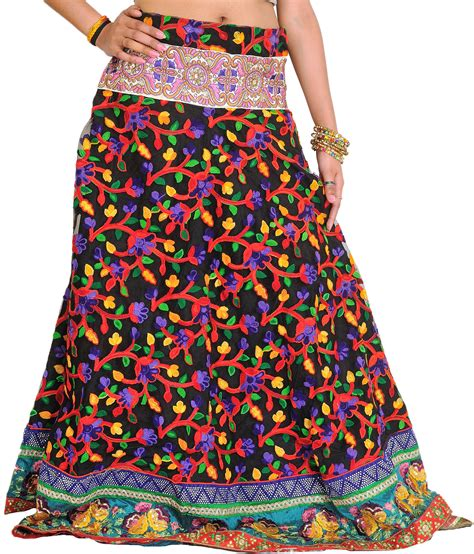 Wedding Border Sts by Jet Black Floral Embroidered Ghagra With Embroidered Patch