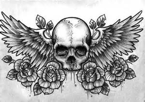 wings on chest tattoo skull with wings and flowers skulls skeletons pinterest chest piece tattoo and body art