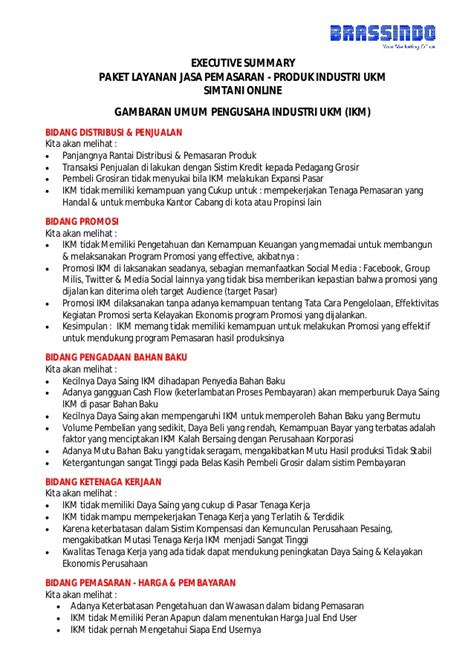 Agreement Letter Adalah Executive Summary Jasa Layanan Pemasaran Industri Ukm Sme Marketin