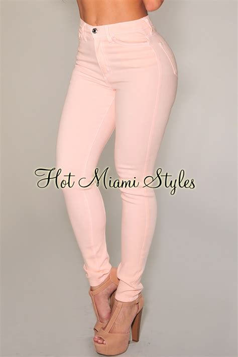 light pink skinny jeans high waisted pink skinny jeans bbg clothing