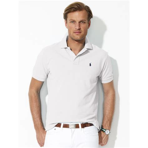 polo white polo ralph classic fit mesh polo in white for