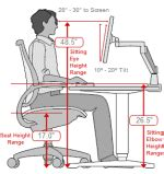 Average Height Of Desk by Ergonomic Office Desk Chair And Keyboard Height Calculator Desk Top Should Be 66cm Chair