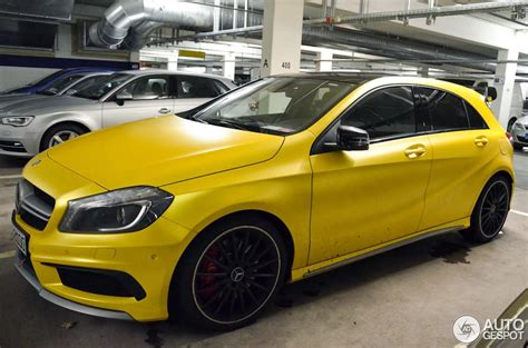 yellow mercedes a45 amg looks damn