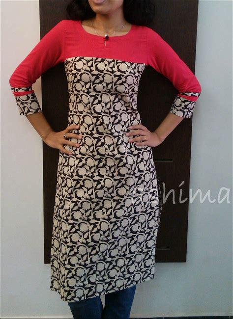 yoke pattern kurta printed kalamkari with plain linen cotton yoke sleeve