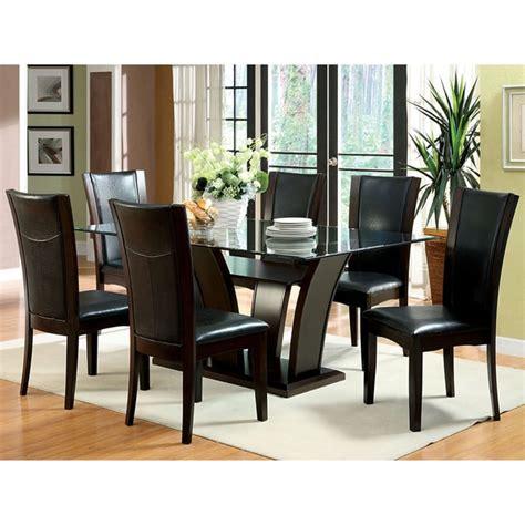 furniture of america sculpture ii contemporary glass top furniture of america marion contemporary 7 piece glass top