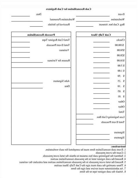 Templaterhpinterestcom Petty Cash Register Balance Sheet Template Cash Reconciliation Form Drawer Count Sheet Template