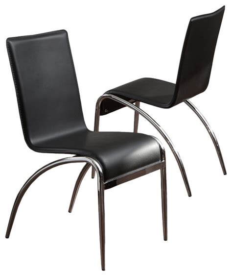 aude modern design chrome base black accent dining chairs