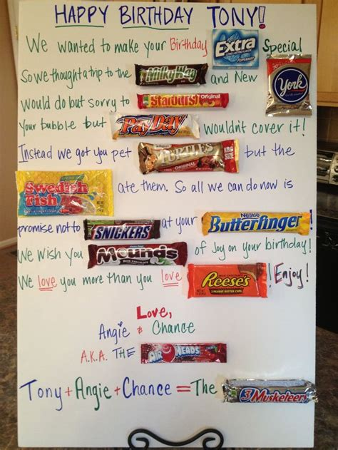 Birthday Card Made Out Bars 1000 Images About Candy Poems On Pinterest Candy Trees