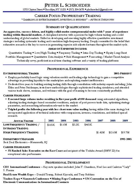 Stock Market Trader Cover Letter by Stock Investor Resume Investment Professional Resume Sles