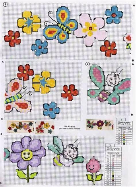 farfalle e fiori fiori e farfalle schema punto croce baby