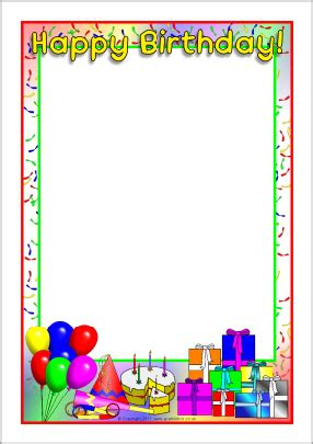 Happy Birthday A4 Page Borders Sb4931 Sparklebox Free Printable Birthday Borders And Frames