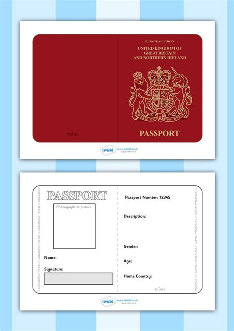 Passport Template Uk twinkl resources gt gt passport template gt gt printable
