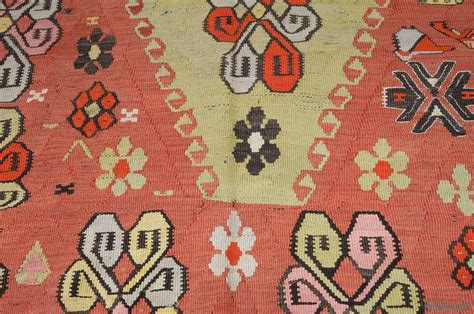orange kilim rug k0010339 orange green vintage artvin kilim rug