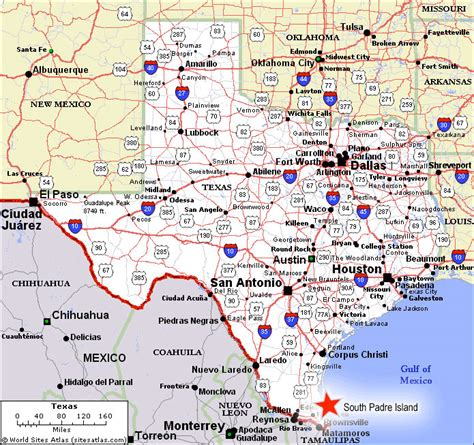 texas map south padre island padre texas