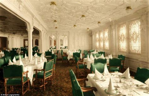 dining on the titanic titanic in colour photographer colours black and white