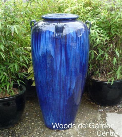 large tall blue glazed temple jar decor vase woodside