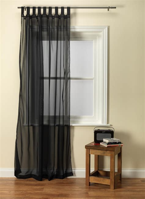 black tab top curtains black tab voile panel from net curtains direct