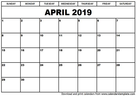 printable calendar april 2018 to march 2019 april 2019 calendar template 2018 calendar printable