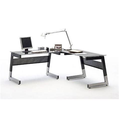 Glass Computer Desk Corner Mili Black And Clear Glass Corner Computer Desk With Metal