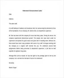 Retirement Announcement Templates by Sle Announcement Letter Template 9 Free Documents
